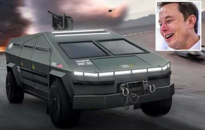 Genius YouTubers create 'militarized' Elon Musk Cybertruck concept – with a roof-mounted machine gun