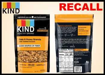 KIND Healthy Snacks Recall Oats & Honey Granola Pouches